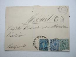 1877 , Brief Aus BARCELONA Nach Madrid - 1875-1882 Königreich: Alphonse XII.