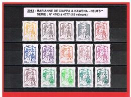 2013 - MARIANNE De  CIAPPA Et KAWENA - NEUFS** - N° 4763 à 4777 - 15 TIMBRES - COTE Y & T : 43.00 Euros - 2013-... Marianne Of Ciappa-Kawena