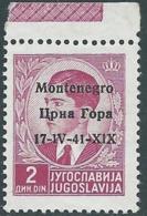 1941 MONTENEGRO 2 D VARIETà DATA 17-1V-41-X1X MNH ** - RB42-9 - 9. Besetzung 2. WK (Italien)