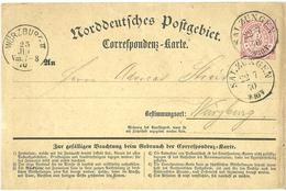 Germany 1870 Postkarte / Post Card Norddeutches Postgebiet, Cancelled Salzungen 22.7.70 And Würzburg 25.7 - Norddeutscher Postbezirk