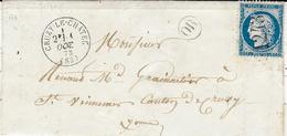 1873- Lettre De CRUZY-LE-CHÄTEL  ( Yonne ) Cad T16  Affr. N°60 Oblit. G C 1243 + O R De Arthonnoy - Postmark Collection (Covers)