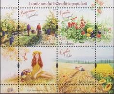 MOLDOVA,  2019, MNH,TRADITIONAL FOLK MONTHS, HARVEST, FRUIT , GRAPES, AGRICULTURE, SHEETLET - Cultures