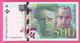500 CINQ CENT FRANCS 1995 PIERRE ET MARIE CURIE FAYETTE N° 76 NEUF SANS TROUS EPINGLES T032569221 - 1992-2000 Laatste Reeks