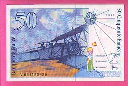 50 CINQUANTE FRANCS 1999 ANTOINE DE SAINT EXUPERY N° 73.5 NEUF SANS TROUS EPINGLES V 051455699 - 1992-2000 Ultima Gama