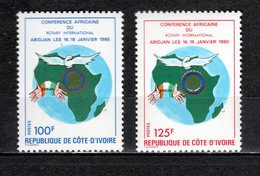 COTE D'IVOIRE N° 705 + 706  NEUFS SANS CHARNIERE COTE 2.50€   ROTARU INTERNATIONAL - Ivory Coast (1960-...)