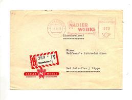 Lettre Recommandée Flamme Ema Mannheim Fabrique Aliment Nadler - BRD