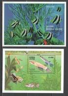 U926 SIERRA LEONE FISH & MARINE LIFE FAUNA TWO-STRIPED PANCHAX ANGELFISH SINGAPORE 2BL MNH - Marine Life