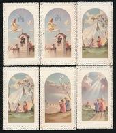 6 HEILIGE PRENTJES 1te COMMUNIE 1958   ZIE 2 SCANS   10.5 X 6 CM - Images Religieuses