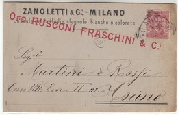 VINO ZANOLETTI&C MILANO ORA RUSCONI FRASCHINI CAPSULE PER BOTTIGLIE - BIGLIETTO COMMERCIALE 1899 - Cartoncini Da Visita
