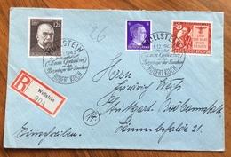 MEDICINA  ROBERT KOCH  EMISSIONE ED ANNULLO SPECIALE  31/12/1943 SU REGISTERED  FROM WOLLSTEIN TO STUTTGART - Timbres