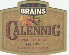 BEERMAT - BRAINS BREWERY (CARDIFF, WALES) - CALENNIG SPICED FESTIVE ALE - (Not Yet Catalogued) - Portavasos
