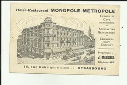 67 - Bas Rhin - Strasbourg - Carte Gravure De Greiner - 1931 - Hotel Monopole - Métropole - 16 Rue Kuhn - - Strasbourg
