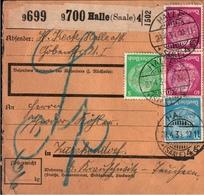 ! 1934 Paketkarte, Deutsches Reich, Halle / Saale, Landpoststempel Weißenfels - Storia Postale