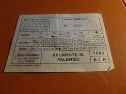 BIGLIETTO SICILBUS-BELMONTE MEZZAGNO PALERMO-1993 - Season Ticket