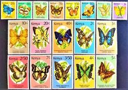 # Kenya 1988-90**Sc.424-440  Butterflies , MNH [20;119] - Schmetterlinge