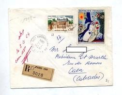 Letttre Recommandée Paris 108 Sur Amboise Chagall - Poststempel (Briefe)