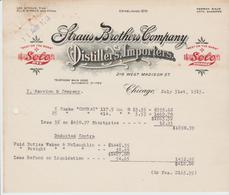 CHICAGO: STRAUS BROTHERS Cie, Vins Et Spiritueux 216, West Madison Street / Lettre De 1913 - Etats-Unis