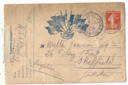 N°138 TRESOR POSTES 102A 26.12.1916 CARE FM DRAPEAUX ALLIES POUR ENGLAND - Marcofilie (Brieven)