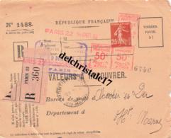 VALEUR A RECOUVRER - PARIS 22  POUR MONTIER EN DER (HTE MARNE) AVEC 3  OBLITÉRATIONS EMA + 25 Cts SEMEUSE - 1921-1960: Modern Tijdperk