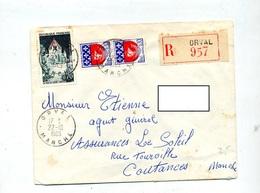 Letttre Recommandée Orval Sur Provins - Poststempel (Briefe)