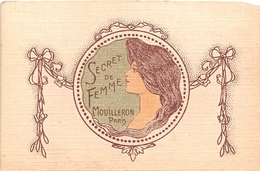 """Carte De Parfum Publicitaire - """" Secret De Femme """" -  Mouilleron Paris - C. MOUDOUX Et FILS Vins Et Liqueurs à CHOLET - Publicités"""