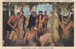 Jacques Cartier Meets Indians At GASPE , Quebec , Canada , 1930s - Indiens De L'Amerique Du Nord