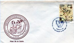 PERU. SOBRE FDC. 1989. 100 ANIVERSARIO SOCIEDAD GEOGRAFICA LIMA. 100 ANNIVERSARY SOCIEDAD GEOGRAFICA LIMA. LIMA. - NTVG - Perú