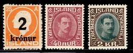 Islande YT N° 110, N° 150 Et N° 152 Neufs (*). B/TB. A Saisir! - 1918-1944 Amministrazione Autonoma