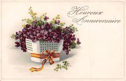 Heureux Anniversaire - Fleurs - Vase - Ruban - Geburtstag