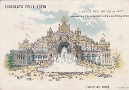 PARIS CHOCOLAT CACAO FELIX POTIN EXPOSITION UNIVERSELLE 1900 PALAIS ELECTRIQUE ET DU CHATEAU D EAU CARTE DE PUBLICITE - Autres