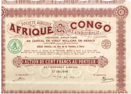 Titre Ancien - Afrique & Congo Société Agricole Commercial & Industrielle - Société Anonyme - Titre De 1924 - G Richard - Afrika