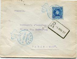 ESPAGNE LETTRE RECOMMANDEE 5 AVRIL 07 DEPART 3 ABR 07 ESTAFETA DEL SENADO (CACHET BLEU TEMPORAIRE) POUR LA FRANCE - Cartas