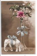Bonne Année . - Des Fleurs Et Un Eléphant Blanc. - Anno Nuovo