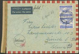GERMANY: 23/MAR/1944 Kattowitze - Switzerland, Feldpost Airmail Cover With Nazi OKW Censor, Interesting! - Germania