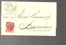 1855 AGUILAS Murcia To Barcelona Alesan Hermanoy (433) - 1850-68 Royaume: Isabelle II