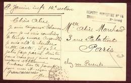 Franchise Militaire Santé *  Hôpital Auxiliaire N° 14 - Thonon-les-Bains ( Haute Savoie )   * Convalescent 1914 1918 - Marcophilie (Lettres)