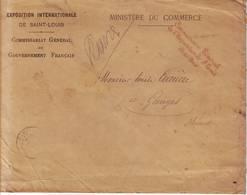 EXPOSITION UNIVERSELLE De SAINT LOUIS Missouri ETATS UNIS , Lettre Avec Marque De FRANCHISE Paris 1904 - Poststempel (Briefe)