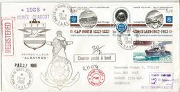Année Charcot 1986 . Lettre Recommandée Du Patrouilleur Albatros Postée à L'île Crozet, Adressée Australie (RARE) - Expéditions Antarctiques