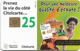 Ivory Coast - CI-Telcom - Prenez La Vie, Woman, Chip GEM1A Symmetric Red, 25Units, Used - Costa De Marfil