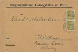 Infla Dienst Bürgermeisteramt Ludwigshafen Rhein Brief Nach Zürich (Marken Rs Beschädigt) 5.Mia M 9.11.23 Hitlerputsch - Covers & Documents