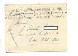 Lettre Franchise Militaire Flamme Compiegne Musee Voiture Golf - Poststempel (Briefe)