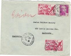 GANDON N° 727 + AVION POUR L' AUSTRALIE 1946 - Poststempel (Briefe)