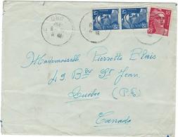 GANDON N°886 X 2 + 887 POUR LE CANADA 1952 - Marcofilia (sobres)