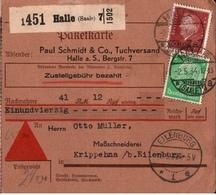! 1934 Nachnahme Paketkarte, Deutsches Reich, Halle / Saale 7, Nach Eilenburg - Deutschland
