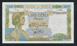 FRANCE RARE 500 FRANCS LA PAIX 1940 UNC - 1871-1952 Anciens Francs Circulés Au XXème