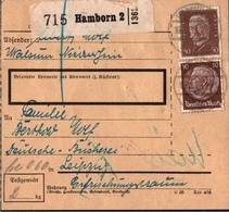 ! Paketkarte, Deutsches Reich, Hamborn N. Leipzig - Briefe U. Dokumente