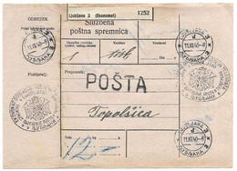 Yugoslavia Slovenia 1940 Ljubljana Official Postal Parcel Card - 1931-1941 Kingdom Of Yugoslavia
