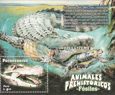2006 2007 Peru Dinosaurs Turtles Crocodiles Complete Souvenir Sheet MNH - Perù