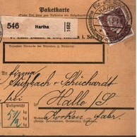 ! 1934 Paketkarte, Deutsches Reich, Hartha Nach Halle A.S. - Cartas