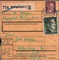 ! 1943 Paketkarte, Deutsches Reich, Heiligenbeil Nach Leinawald Bei Altenburg, Fliegerhorst, Nobitz - Allemagne